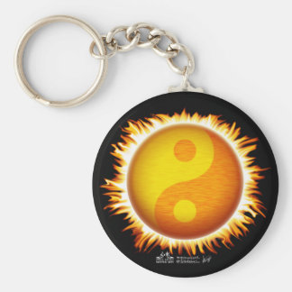 Flaming Yin Yang Sun Symbol Keychain