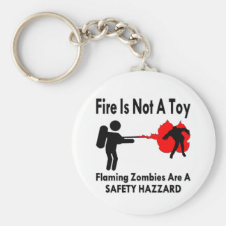 Flaming Zombies Are A Safety Hazard Basic Round Button Key Ring