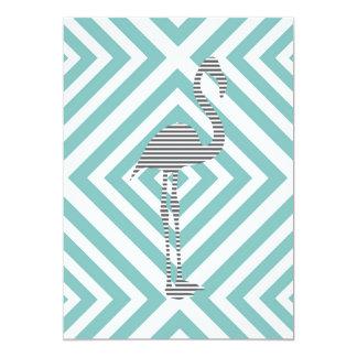 Flamingo - abstract geometric pattern - blue. card