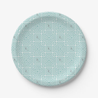 Flamingo - abstract geometric pattern - blue. paper plate