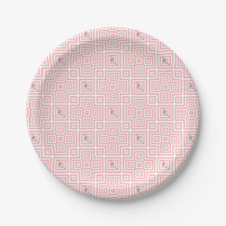 Flamingo - abstract geometric pattern - pink. paper plate