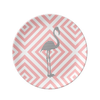 Flamingo - abstract geometric pattern - pink. plate