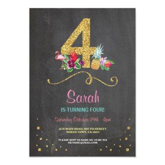 Flamingo Aloha 4TH 4 Birthday Party Chalk Invite