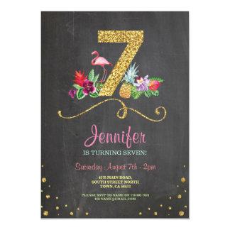 Flamingo Aloha 7th Birthday 7 Party Chalk Invite