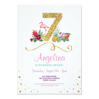 Flamingo Aloha 7th Seven Birthday Party Invite