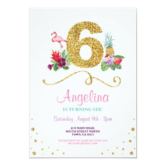Flamingo Aloha Sixth 6th Six Birthday Party Invite