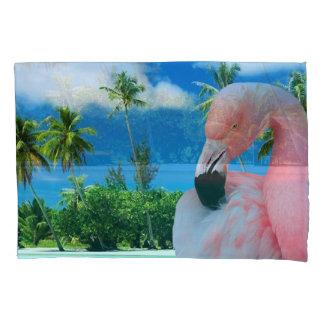 Flamingo and Beach Pillowcase