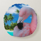 Flamingo and Beach Round Cushion