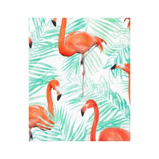 Flamingo and Mint Palm Canvas Print