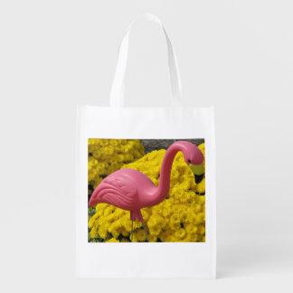 Flamingo And Mums Tote Bag Grocery Bag
