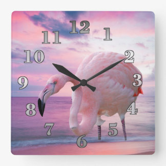 Flamingo and Pink Sky Clocks