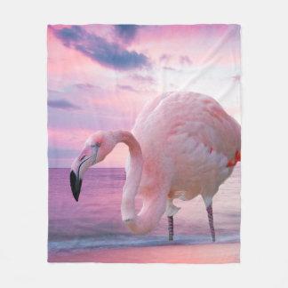 Flamingo and Pink Sky Fleece Blanket