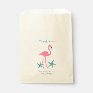 Flamingo and Starfish Thank You Party Favor Bags
