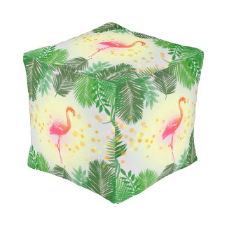 Flamingo and Tropical Leaves * Summer Time Madness Pouf