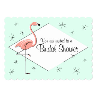 Flamingo Aqua Diamond Bridal Shower bracket 13 Cm X 18 Cm Invitation Card