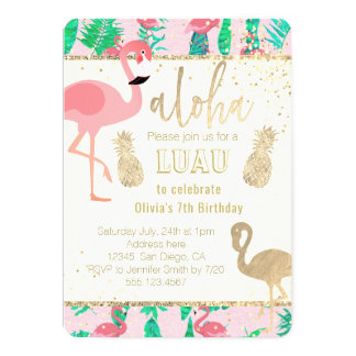 flamingo art faux gold foil luau party card