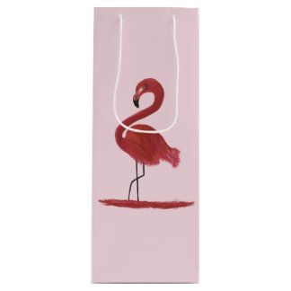 Flamingo Artwork Wine Gift Bag
