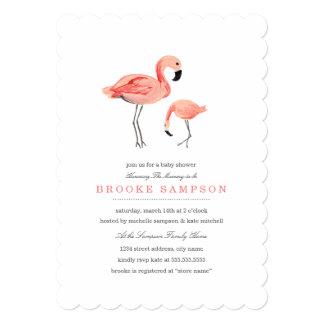 Flamingo Baby Shower 13 Cm X 18 Cm Invitation Card