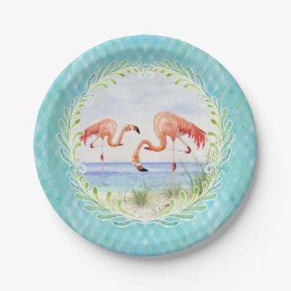 Flamingo Beach Ocean Sandy Shore Picnic Watercolor Paper Plate