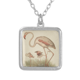 Flamingo bingo silver plated necklace