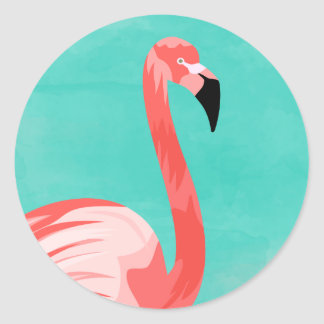 Flamingo Bird Classic Round Sticker
