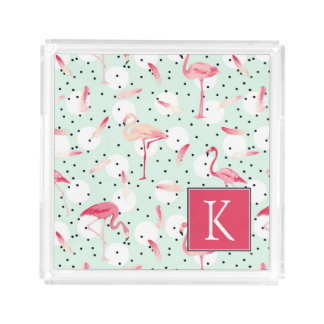 Flamingo Bird With Feathers | Add Your Initial