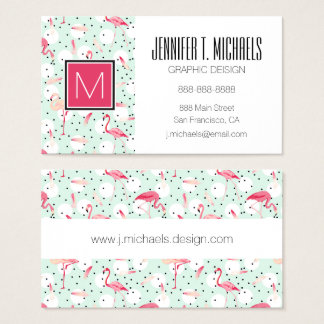 Flamingo Bird With Feathers | Monogram Business Card