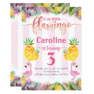 Flamingo Birthday Party Invitation Pineapple