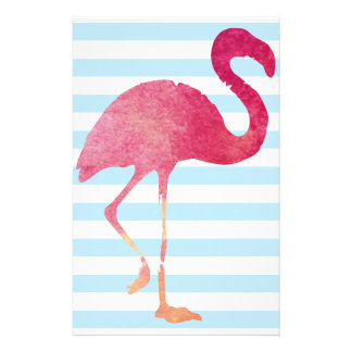 Flamingo, blue and white stripes stationery