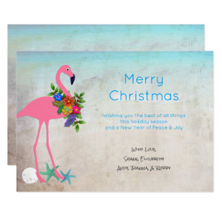 Flamingo Blue Christmas Flat Greeting Cards 13 Cm X 18 Cm Invitation Card