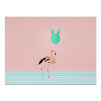 Flamingo Cactus Balloon Poster
