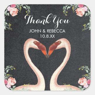Flamingo chalkboard thank you sticker wedding