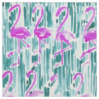 FLAMINGO CHILL Tropical Watercolor Print Fabric