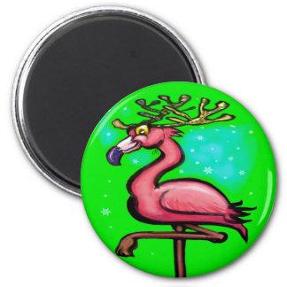 Flamingo Christmas Reindeer Magnet