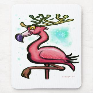 Flamingo Christmas Reindeer Mouse Pad