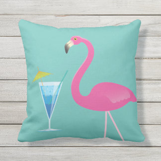 Flamingo & Cocktail on Turquoise Outdoor Pillow