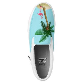 Flamingo Coconut Tree Palm Tree Island Sneaker Slip On Shoes