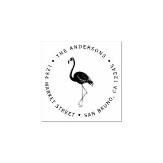Flamingo | Create Your Own Circular Return Address Rubber Stamp