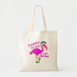 Flamingo Elf Dude Rockin' Christmas Tote Bag