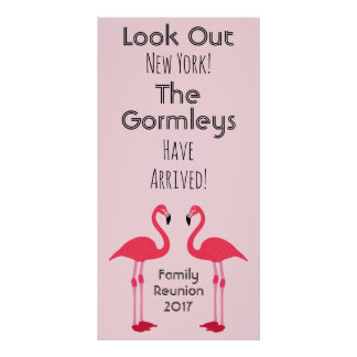 Flamingo Family Reunion Pink Poster Cute