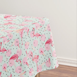 Flamingo Feathers On Polka Dots 2 Tablecloth