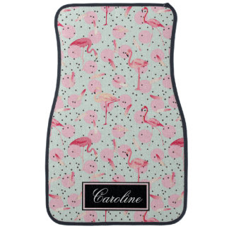 Flamingo Feathers On Polka Dots | Add Your Name Car Mat