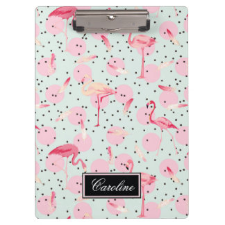 Flamingo Feathers On Polka Dots | Add Your Name Clipboards