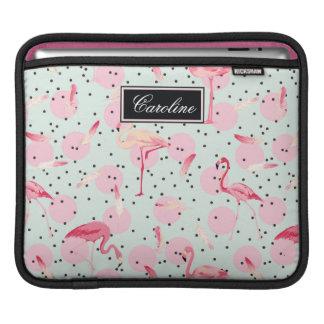 Flamingo Feathers On Polka Dots | Add Your Name iPad Sleeve