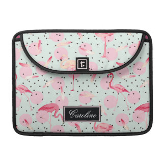 Flamingo Feathers On Polka Dots | Add Your Name Sleeves For MacBooks