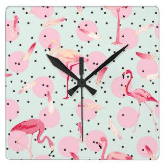 Flamingo Feathers On Polka Dots Wallclocks