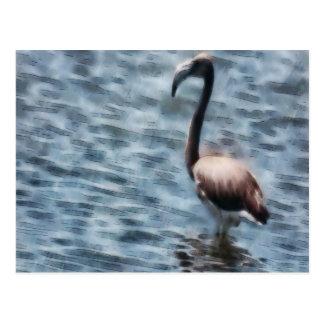 Flamingo Fledgling Watercolor Postcard