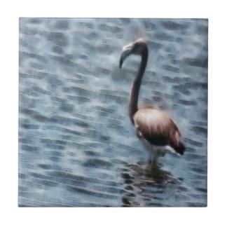 Flamingo Fledgling Watercolor Tile