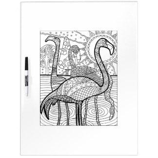 Flamingo Flock Adult Coloring Dry Erase Board