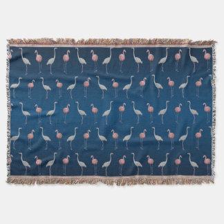 Flamingo Frenzy Throw Blanket (Light/Dark Blue)